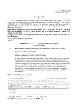 Usnesení o nařízení elektronické dražby