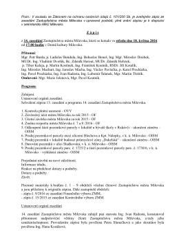 Zápis z 14. zasedání Zastupitelstva města Milevska