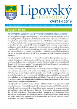 Lipovský zpravodaj květen 2016 - Lipová