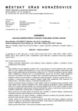 veřejné jednání, Malý Bor - Městský úřad Horažďovice