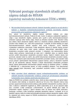 FAQ - metodický dokument MMR-ČÚZK