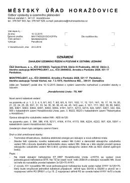 Oznámení o zahájení řízení - jednání Horažďovická Lhota