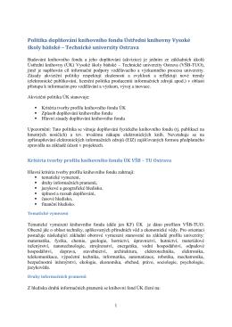 politice doplňování (akvizice) KF ÚK VŠB-TUO