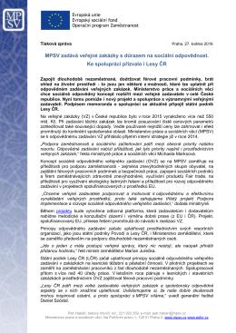 MPSV zadává veřejné zakázky s důrazem na sociální odpovědnost