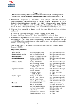 Rozkaz GŘ HZS ČR č. 30/2016 - Mistrovství ČR v požárním sportu