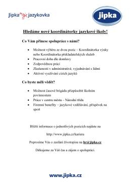Hledáme nové koordinátorky jazykové školy!