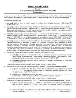 Usnesení z 36. jednání Rady města v Horažďovicích konaného dne