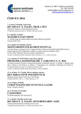Kulturní nabídka Eurocentra Jablonec nad Nisou na červen