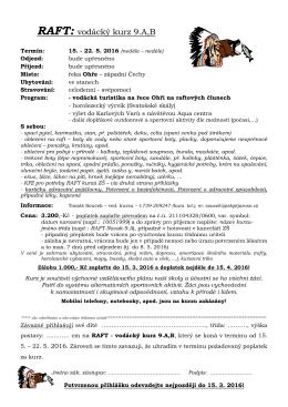 RAFT kurz 9.A,B 2016 - přihláška - Základní škola kpt. Jaroše, Trutnov