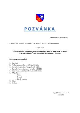 Pozvánka na 9. řádné zasedání ZM dne 2. 6. 2016