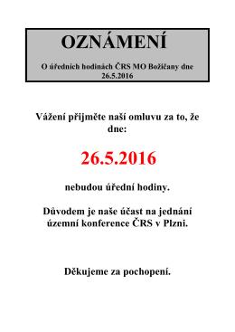 oznámení 26.5.2016