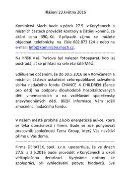 Hlášení 23.května 2016 Kominictví Mach bude vpátek 27.5