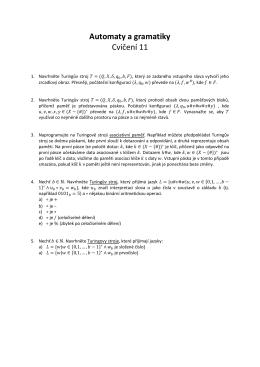 Automaty a gramatiky Cvičení 11
