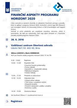 FINANČNÍ ASPEKTY PROGRAMU HORIZONT 2020