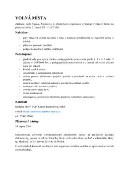 volná místa - Základní škola Opava