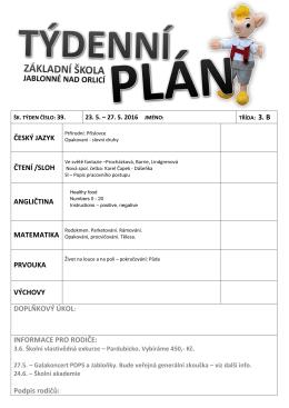 týdenní plán 39