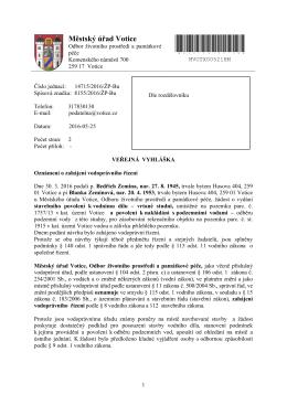 Oznámení o zahájení řízení o vydání stavebního