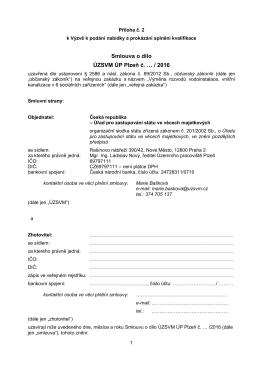 Smlouva o dílo ÚZSVM ÚP Plzeň č. … / 2016