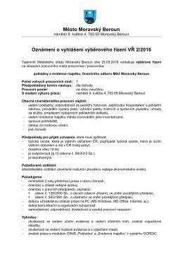 Město Moravský Beroun Oznámení o vyhlášení výběrového řízení