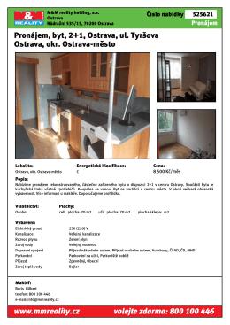 Pronájem, byt, 2+1, Ostrava, ul. Kiršova Ostrava, okr. Ostrava