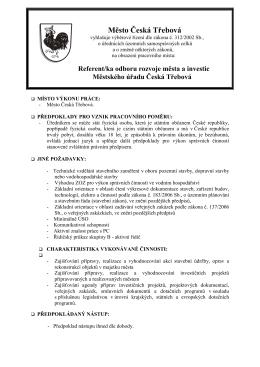 referent/ka odboru rozvoje města a investic