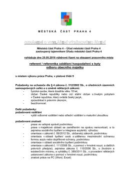 referent / referentka oddělení hospodaření s byty odboru