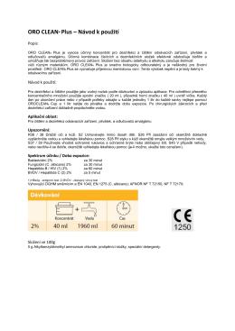 ORO CLEAN® Plus – Návod k použití