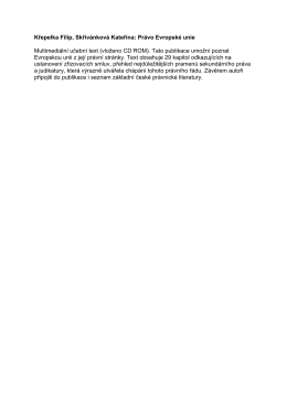 Křepelka Filip, Skřivánková Kateřina: Právo Evropské unie