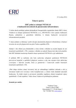 Tisková zpráva ERÚ jedná se zástupci NET4GAS o budoucích