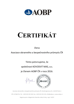 certifikát - Kovosvit MAS