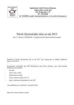 Návrh Závěrečného účtu za rok 2015