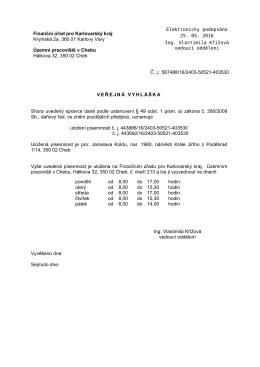Veřejná vyhláška - 176c, Finanční úřad pro Karlovarský kraj