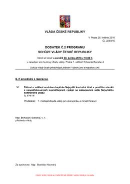 vláda české republiky dodatek č.2 programu schůze vlády české