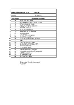 Enduro 2016 - týmové licence