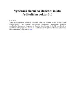 Výběrová řízení na služební místa ředitelů inspektorátů
