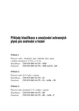 Pfiíklady klasifikace a oznaăování ochrann˘ch plynŰ