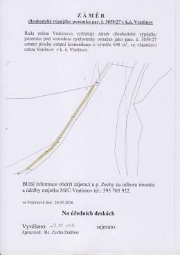 Záměr dlouhodobé výpůjčky pozemku parc. č. 3059/27 v k.ú. Vratimov
