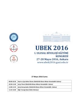 UBEK2016 - I. Ulusal Biyoloji Eğitimi Kongresi