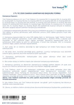 2194 Katılım Formu 2 TL 2500 DK Kampanyası