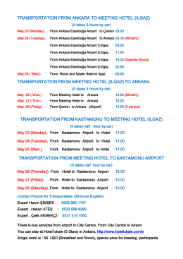 transportation hours from airports (ankara and kastamonu) to hotel