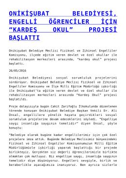 """onikişubat belediyesi, engelli öğrenciler için """"kardeş okul"""" projesi"""