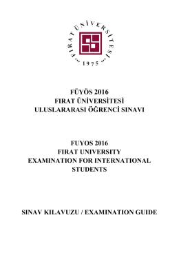 Exam Guide - FÜYÖS - Fırat Üniversitesi