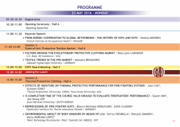 programme - 7th European Conference on Protective Clothing