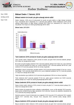 Bitkisel Üretim 1.Tahmini-(2016-25.05.2016)