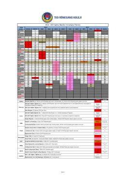 2016 - 2017 Eğitim Öğretim Yılı Çalışma Takvimi