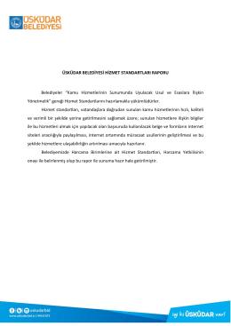 Üsküdar Belediyesi 2016 Hizmet Standartları