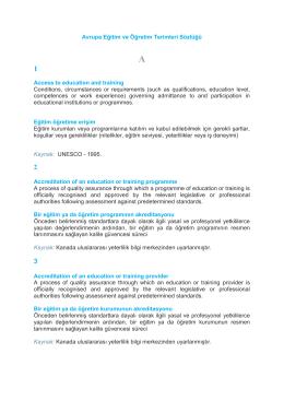 Avrupa Eğitim ve Öğretim Terimleri Sözlüğü