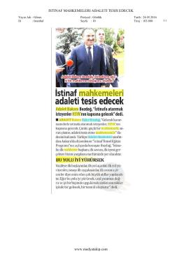 ISTINAF MAHKEMELERI ADALETI TESIS EDECEK www