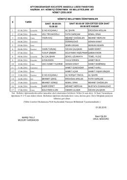 Haziran belletmen nöbet listesi