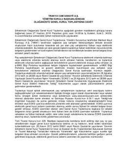 İlan Metni - Trakya Cam